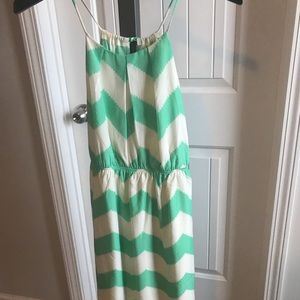 Teal and white chevron tie dress